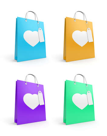 recycle icon: Bags for valentines day. Isolated on white