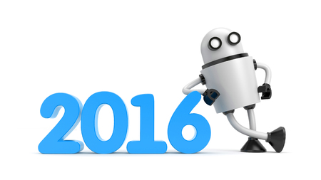 lean machine: Robot leaning on 2016. New year metaphor