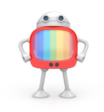 lean machine: TV robot Stock Photo
