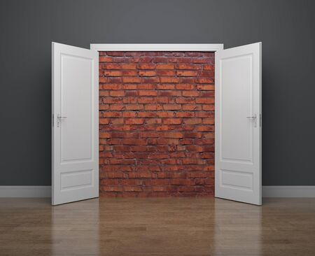 despondency: In the room opened door, behind which a wall of bricks