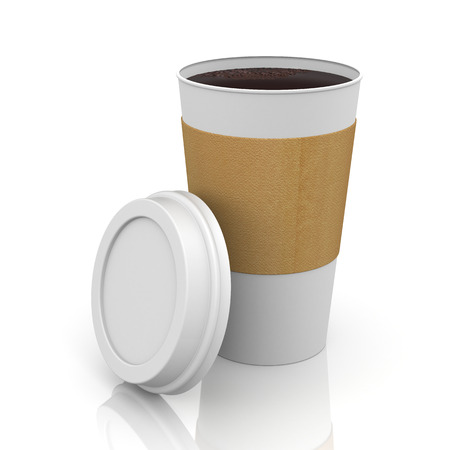 thermo: Coffee in thermo cap. Isolated on white