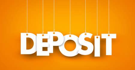 bank deposit: Deposit - word hanging on the string Stock Photo