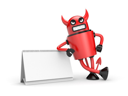 turns of the year: Robot Devil with calendar