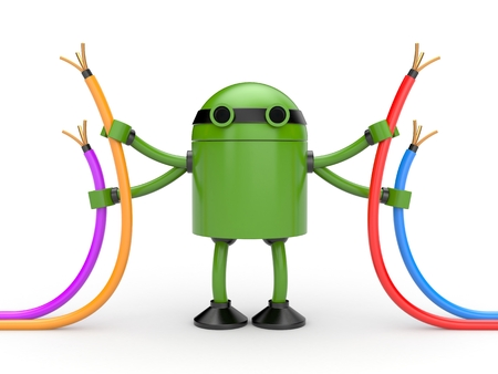 droid: 3D Robot with colored wires Stock Photo