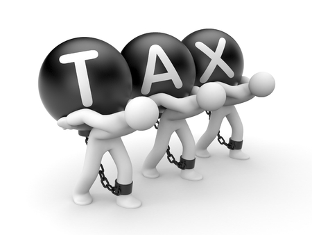 unchain: Overall tax burden. Business metaphor Stock Photo