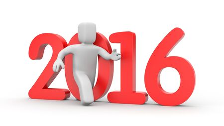 relies: 3D person run to new year Stock Photo