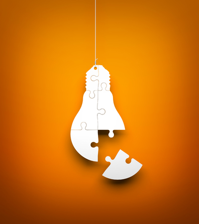 puzzle background: Light bulb from puzzles hanging on the rope. Conceptual 3d image