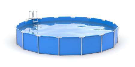 흰색 배경에 라운드 수영장