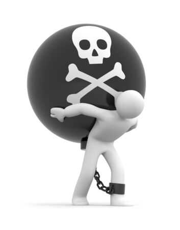 ball and chain: Man trapped with metal ball with skull Stock Photo