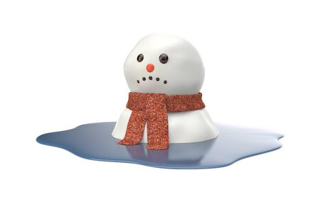 thaw: Snowman melting on white background