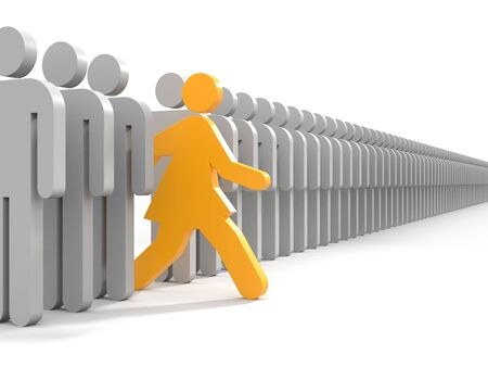 business direction: Woman run to new opportunities - business metaphor Stock Photo