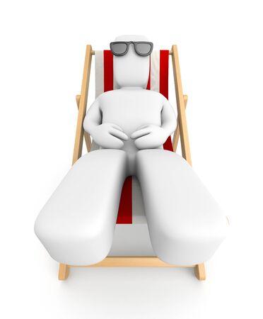 sunbathing: Relaxation metaphor. Isolated on white Stock Photo