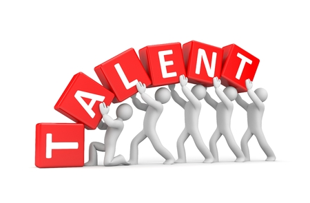 talent show: The person supports his talent - teamwork metaphor