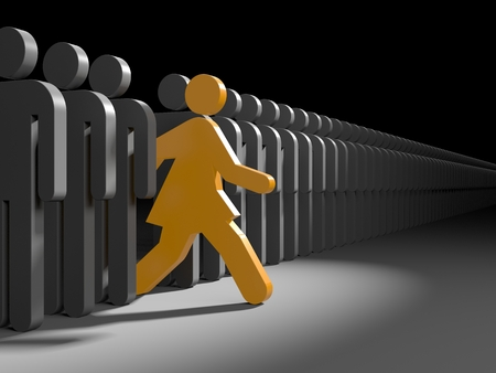 woman run: Woman run to new opportunities. Leadership metaphor