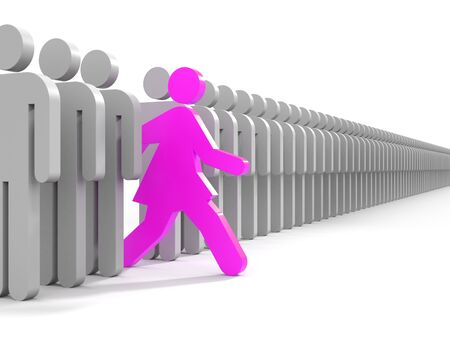 movement: Woman run to new opportunities - business metaphor Stock Photo