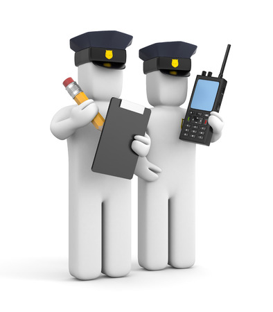 Two police officer one with clipboard and another with transmitter Stock Photo