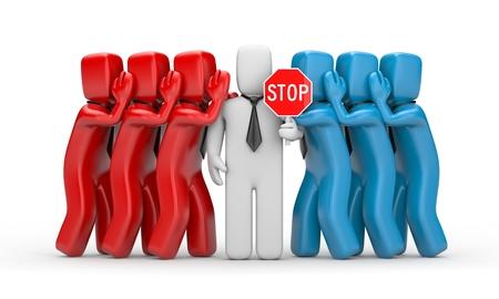 Stop the gossip - business 3D illustration