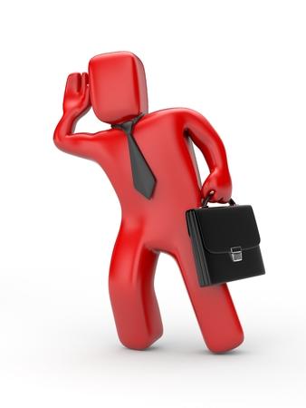 eavesdropping: Businessman eavesdropping - business 3D illustration