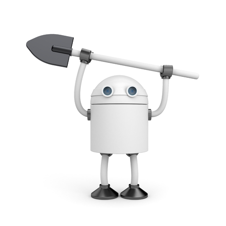 dacha: Robot with shovel. New technologies for agricultural sector Stock Photo