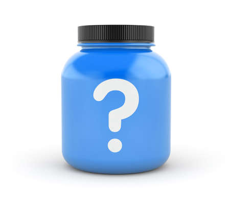 questionably: Cans of protein or gainer powder with question