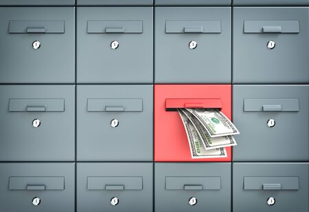 money transfer: Mailboxes - money transfer - business metaphor Stock Photo