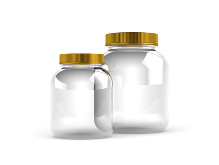 screws: Glass Jars with gold covers on white background