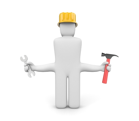 unskilled worker: Unskilled worker.  When the master hands grow from a wrong place Stock Photo