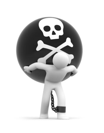 Man trapped with metal ball with skull on white background