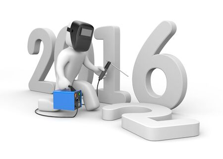 welder: Welder changes numbers in the year 2016 Stock Photo