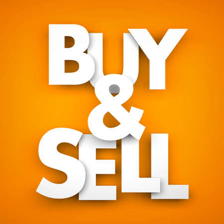 sell: Buy and sell - 3d illustration for business