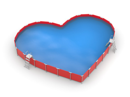 3d swimming pool: Pool in the form of heart on white background