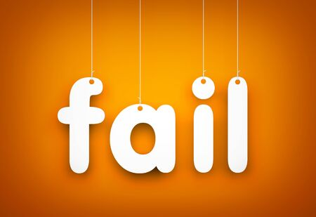 unacceptable: Fail - word hanging on the rope Stock Photo