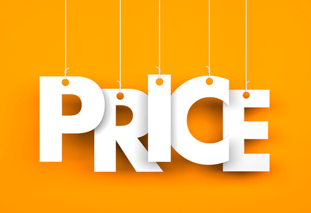 Word PRICE hanging on the ropes. 3d illustration Stok Fotoğraf