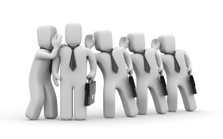 personas escuchando: Los empresarios de espionaje sobre otras personas de negocios. 3d ilustración