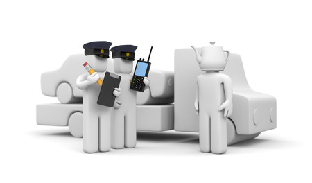 patrolman: Two police officer and stupid driver. 3d illustration