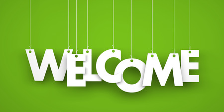 welcome symbol: Word WELCOME hanging on the ropes