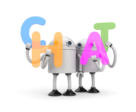 Group of robots with word CHAT. 3d illustration