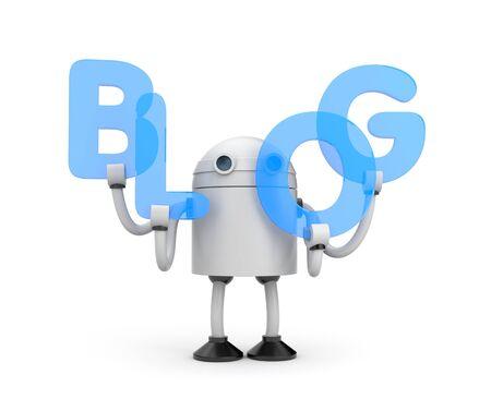 bot: Robot with word BLOG. 3d illustration