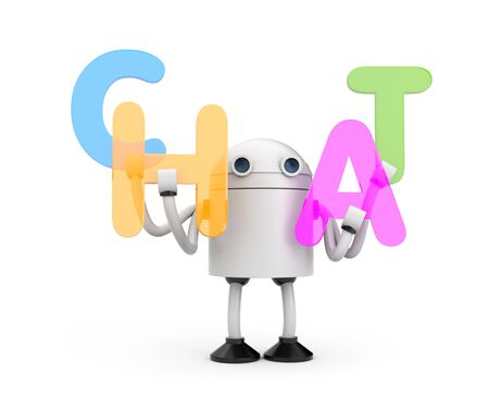 talking robot: Robot with colored 3d letters Stock Photo