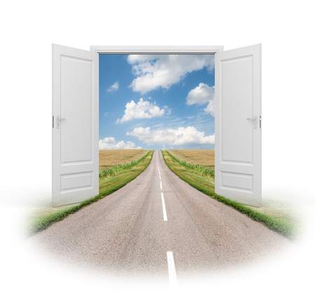 Opened door to a new reality. Road to success Stock Photo