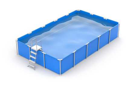 float: Square swimming pool. 3d illustration