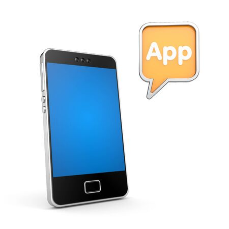 mobile app: Mobile phone with chat bubble and word App. 3d illustration
