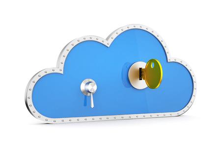 safe lock: Cloud and safe lock. 3d illustration