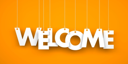 orange banner: Word WELCOME hanging on the ropes. 3d illustration