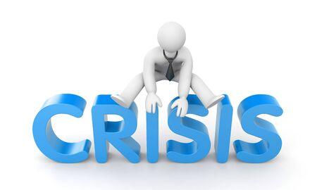hurdle: Overcoming the crisis. 3d illustration Stock Photo