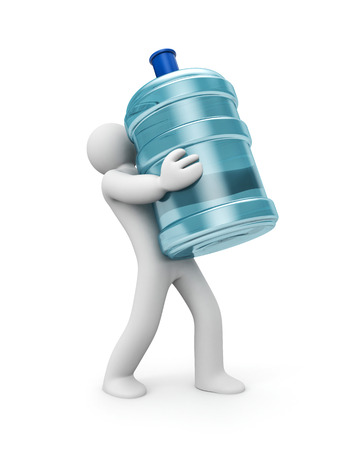 water bottles: Water delivery. 3d person carrying a water bottle. 3d illustration