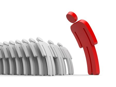 subordinates: Strict boss and employee subordinates. 3d illustration
