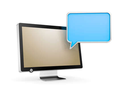 chat bubble: Computer Monitor with chat bubble. 3d illustration Stock Photo