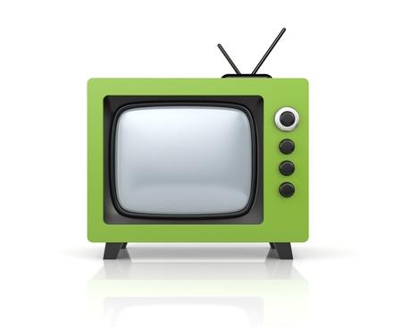 retro tv: Green retro TV. 3d illustration Stock Photo