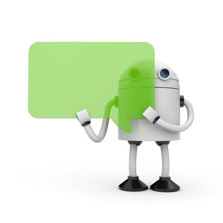 talking robot: Robot with speech bubbles. 3d illustration Stock Photo